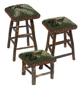 Hooked Hickory and Wool Pine Cone Stools