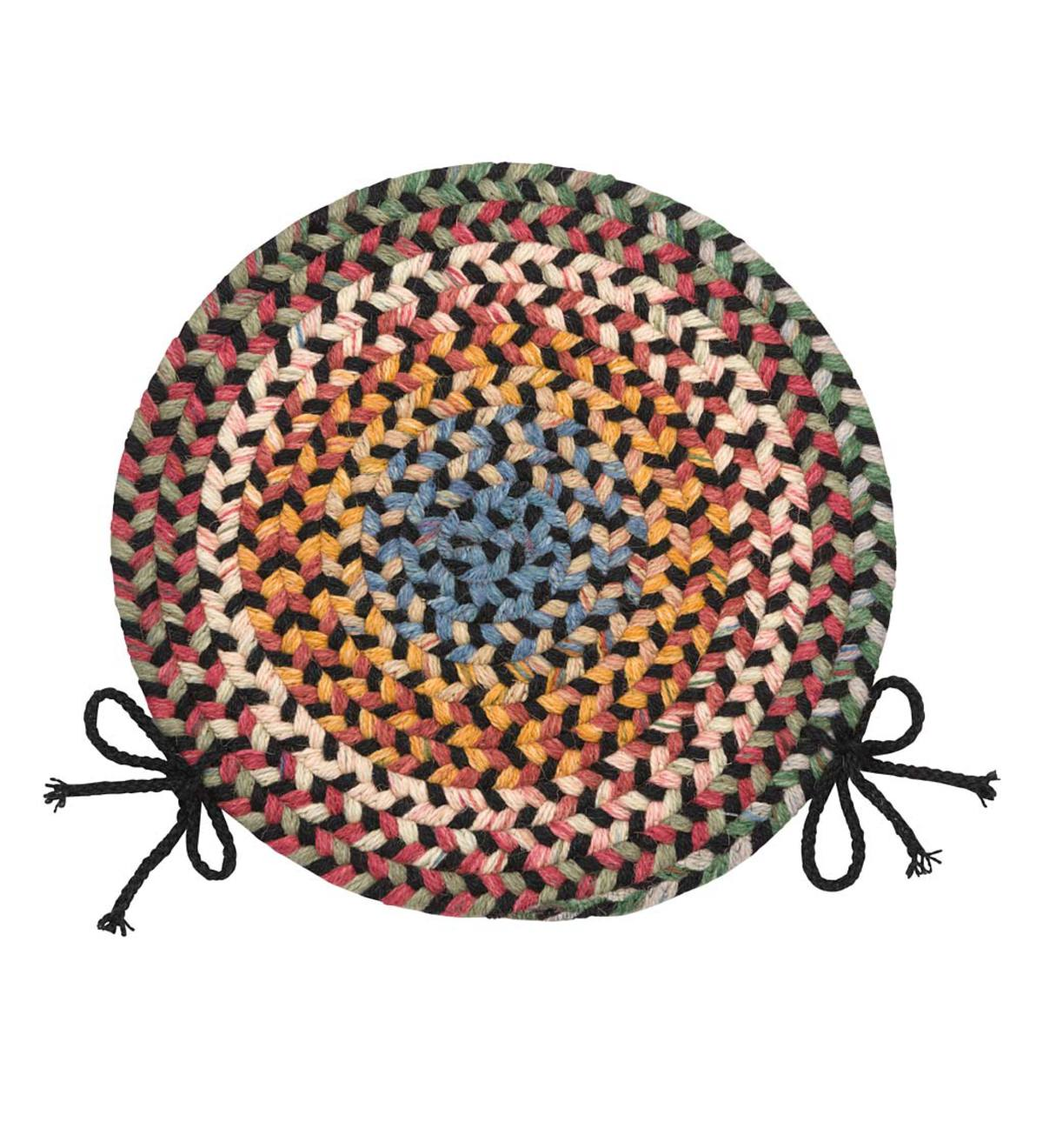 "Blue Ridge Wool Braided Chair Pad, 15"" Round - Black Multi"