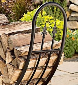 Powder-Coated Tubular Steel and Wrought Iron Curved Wood Rack–Tear and Mildew Resistant Cover