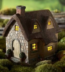 Miniature Fairy Garden Solar Thatched Cottage