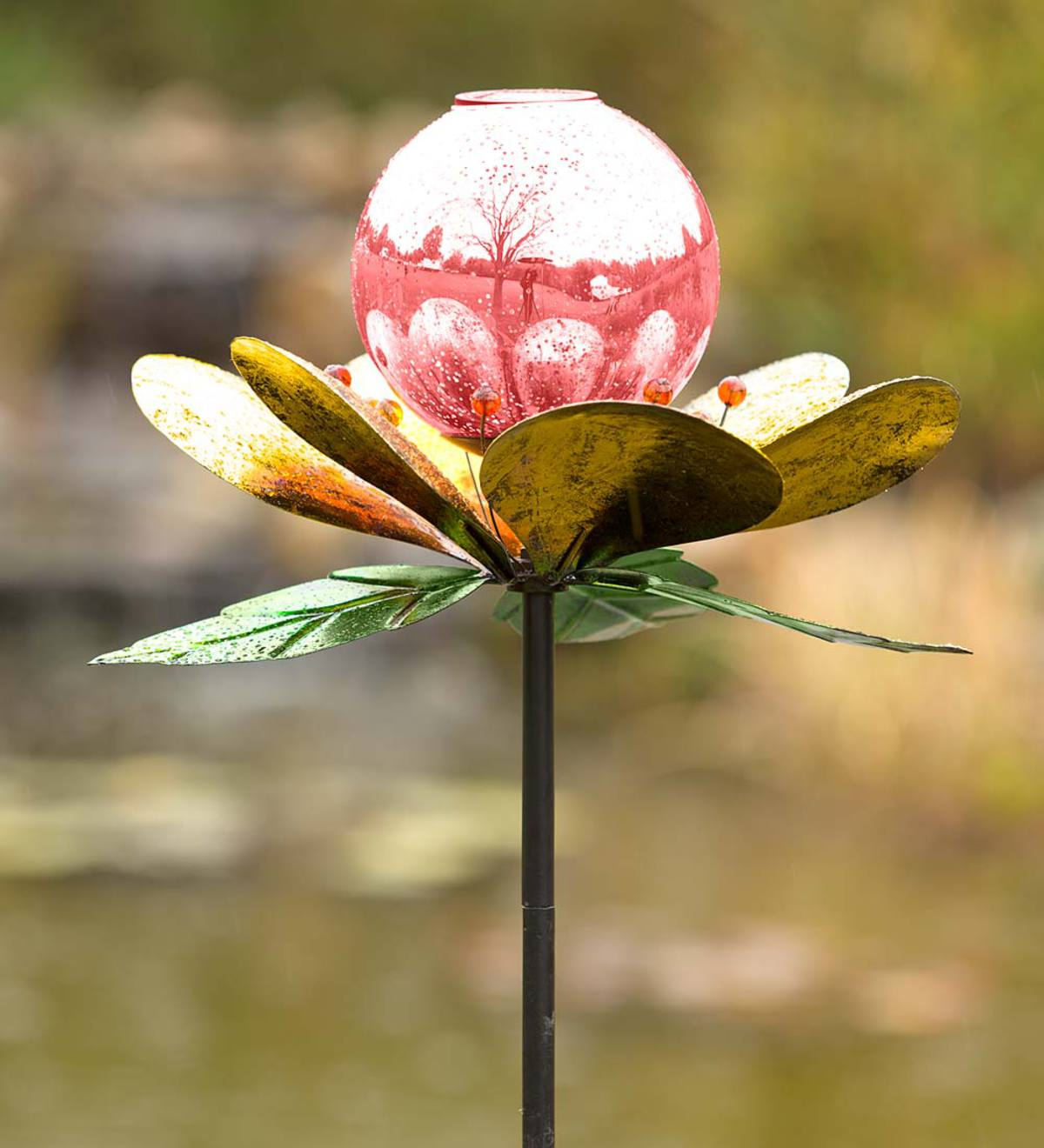 Solar Mercury Glass Globe Flower Garden Spinner