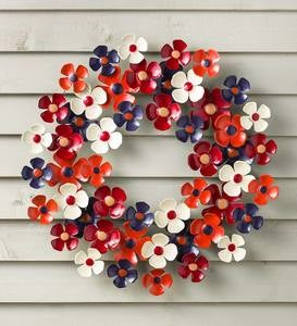 Cambridge Persimmon/Navy Floral Metal Wreath