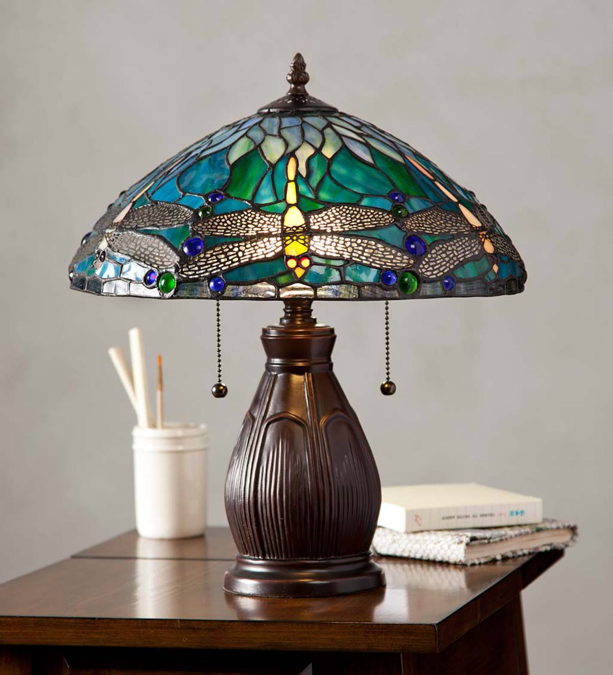 Allendale Dragonfly Tiffany Stained Gl Table Lamp