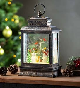Musical Lighted Woodland Snowman Snow Globe Lantern