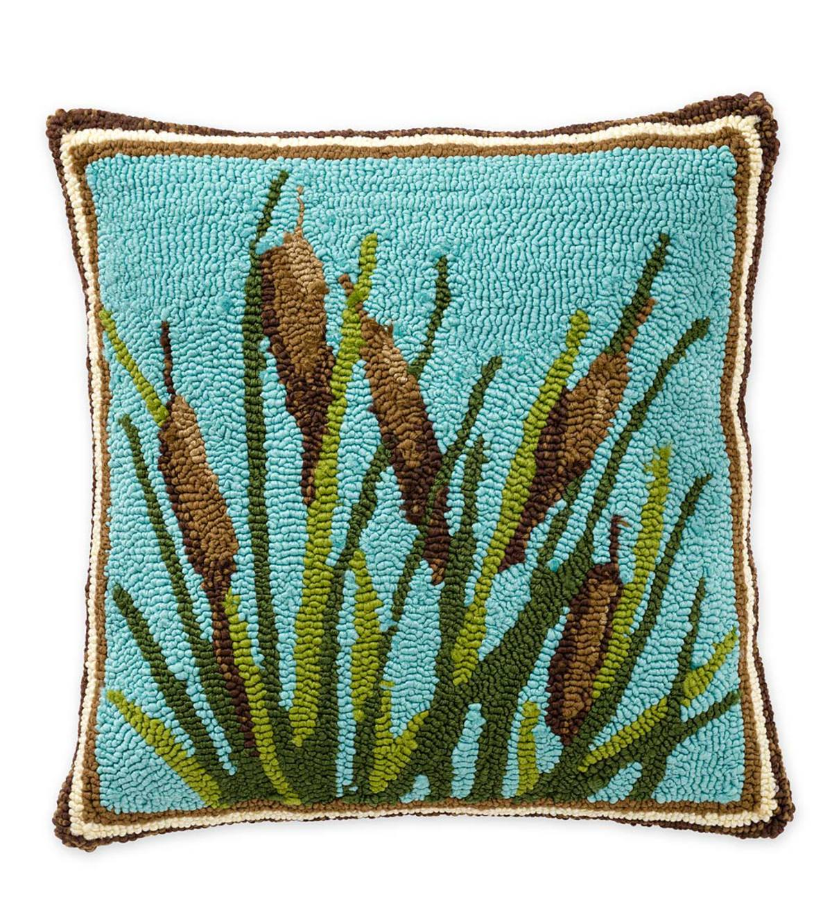 indoor outdoor hooked cattail throw pillow outdoor throw pillows