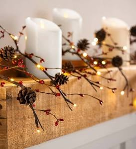 Lighted Pine Cone and Red Berry Garland
