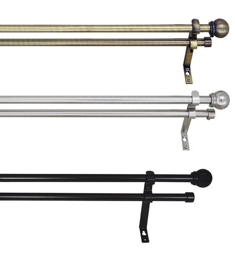 "66""W-120""W Metal Finish Adjustable 1""Double Curtain Rod Set With Ball Finials"