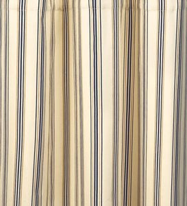 "84""L Thermalogic™ Insulated Double-Width Tab-Top Triple Stripe Curtain Pairs - Navy Stripe"