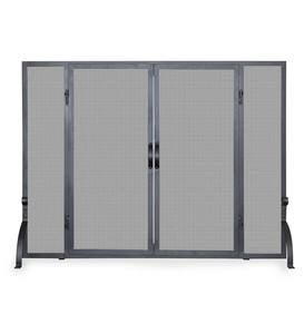 Single Panel Wrought Iron Fireplace Screens with Doors