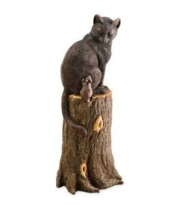 Cat and Mouse on Stump Lawn Ornament