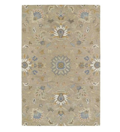 Tan Meadow Floral Vine Wool Rug, 10' x 14'