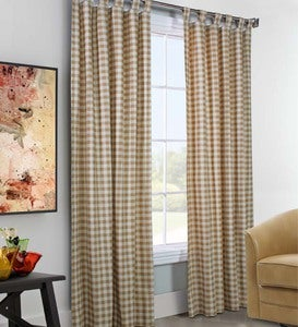 "84""L x 160""W Thermalogic™ Check Tab-Top Double-Wide Curtain Pair"
