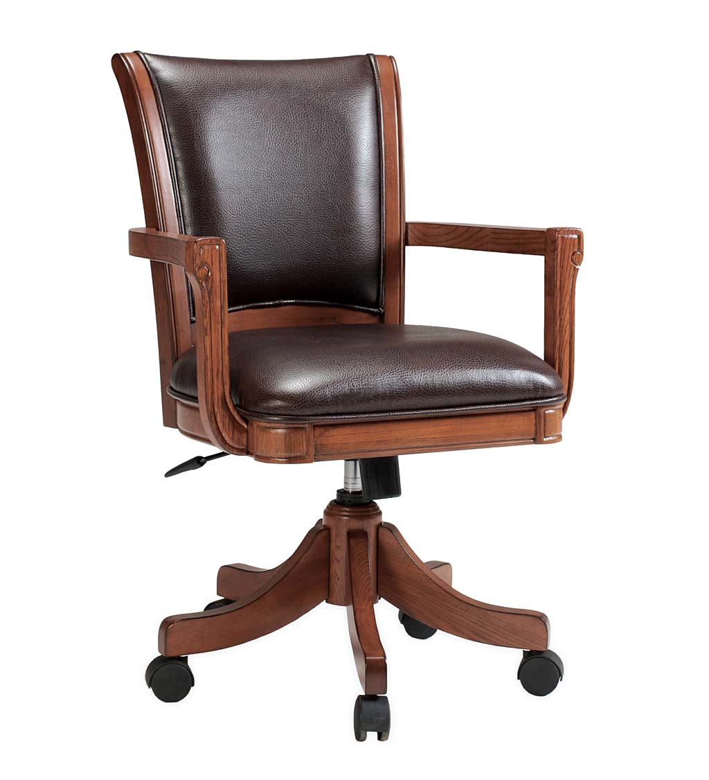 Braswell Adjustable Height Game Chair with 360 Swivel in Medium Brown Oak and Bonded Dark Brown Leather