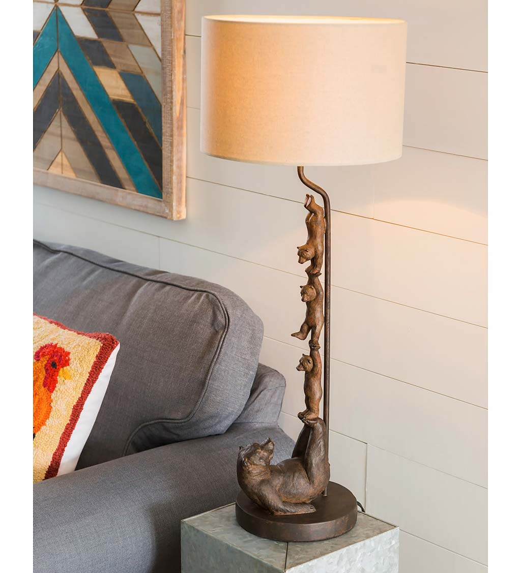 Balancing Bear Family Table Lamp with Shade