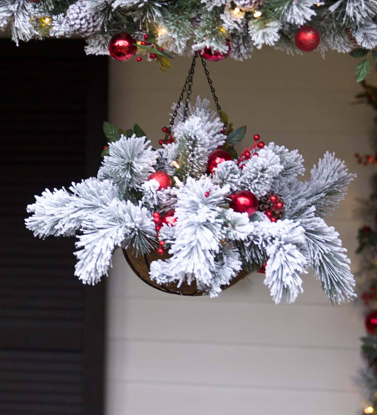 fairfax lighted decorated holiday hanging basket - Hanging Lighted Christmas Decorations