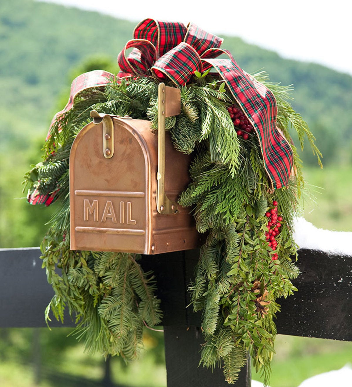 Holiday Woodland Evergreens Mailbox Swag With Bow