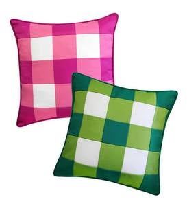 Indoor/Outdoor Bright Buffalo Plaid Throw Pillow