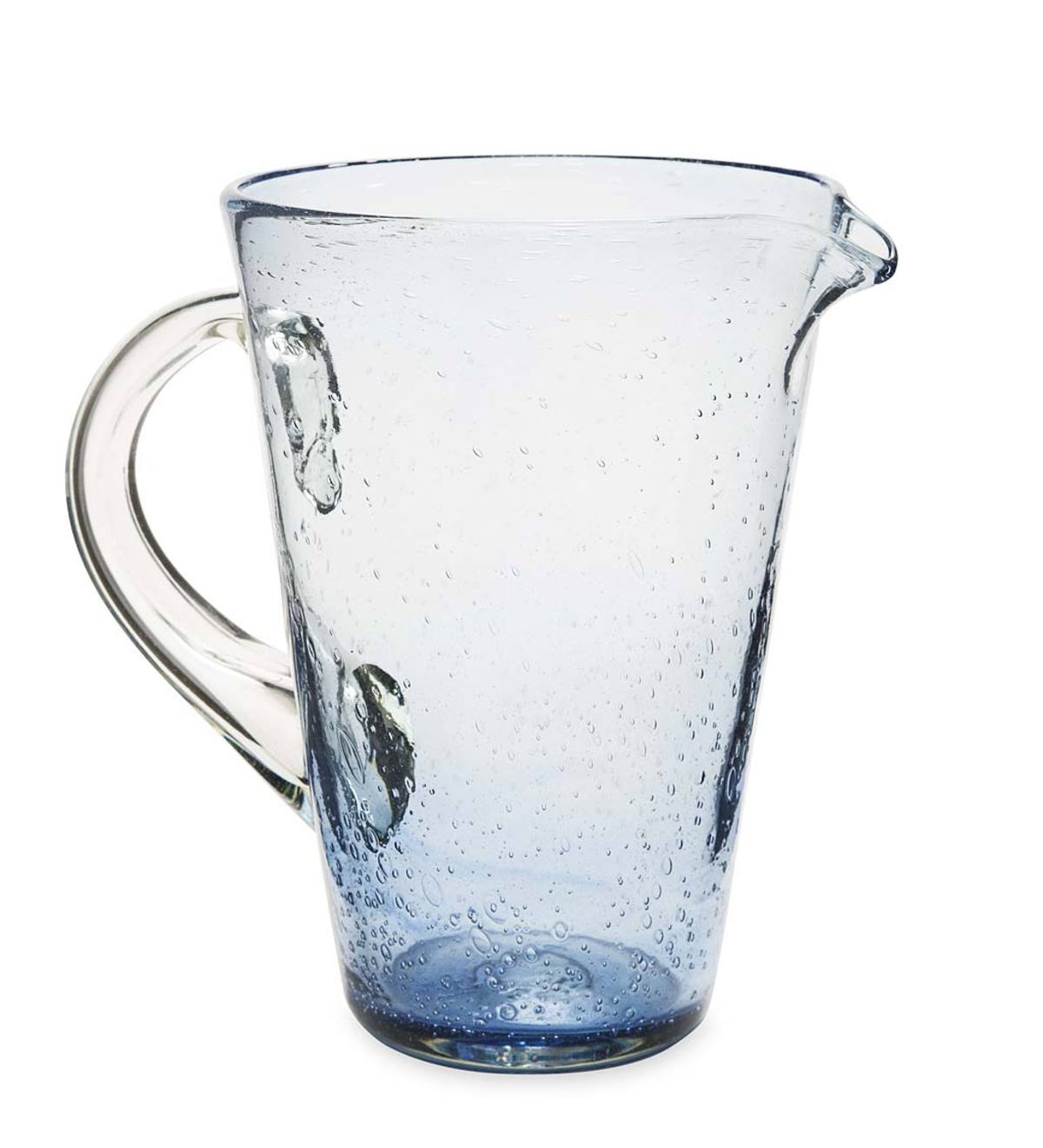 Bubble Recycled Glass Pitcher - Cobalt