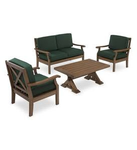 Claremont Deep Seating Love Seat Set with Cushions - Forest Green