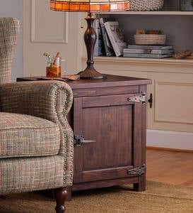 Portland Ice Box Wood Storage Side Table with Replica Hardware