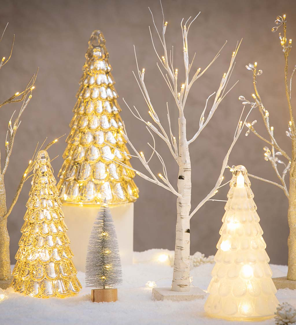 LED White Tabletop Artificial Birch Tree