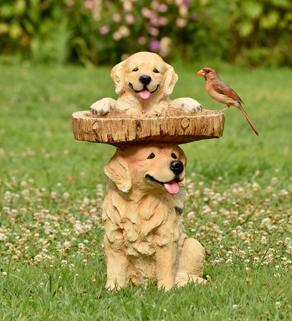 Playful Puppies Birdbath