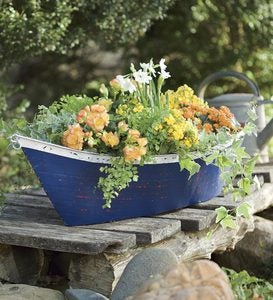 Handmade Recycled Metal Boat Planter/Container