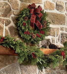 "Holiday Woodland Evergreens 24""Wreath With Bow"