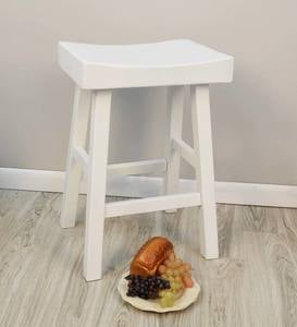 "25"" Wood Saddle Counter Stool"