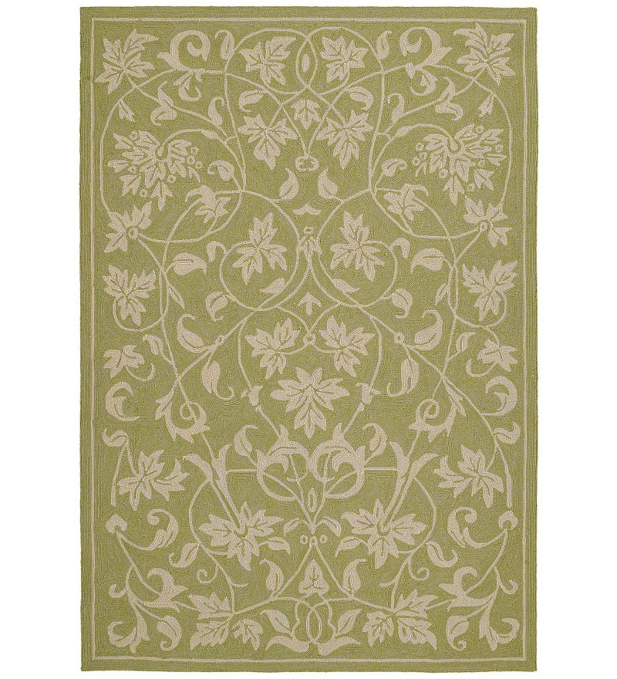 "7'6""x 9' Presley Scrolled Leaf Indoor/Outdoor Polypropylene Rug - Celery"
