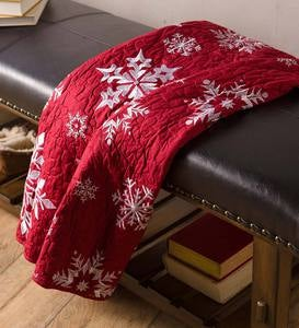 Falling Snow Embroidered Quilted Throw