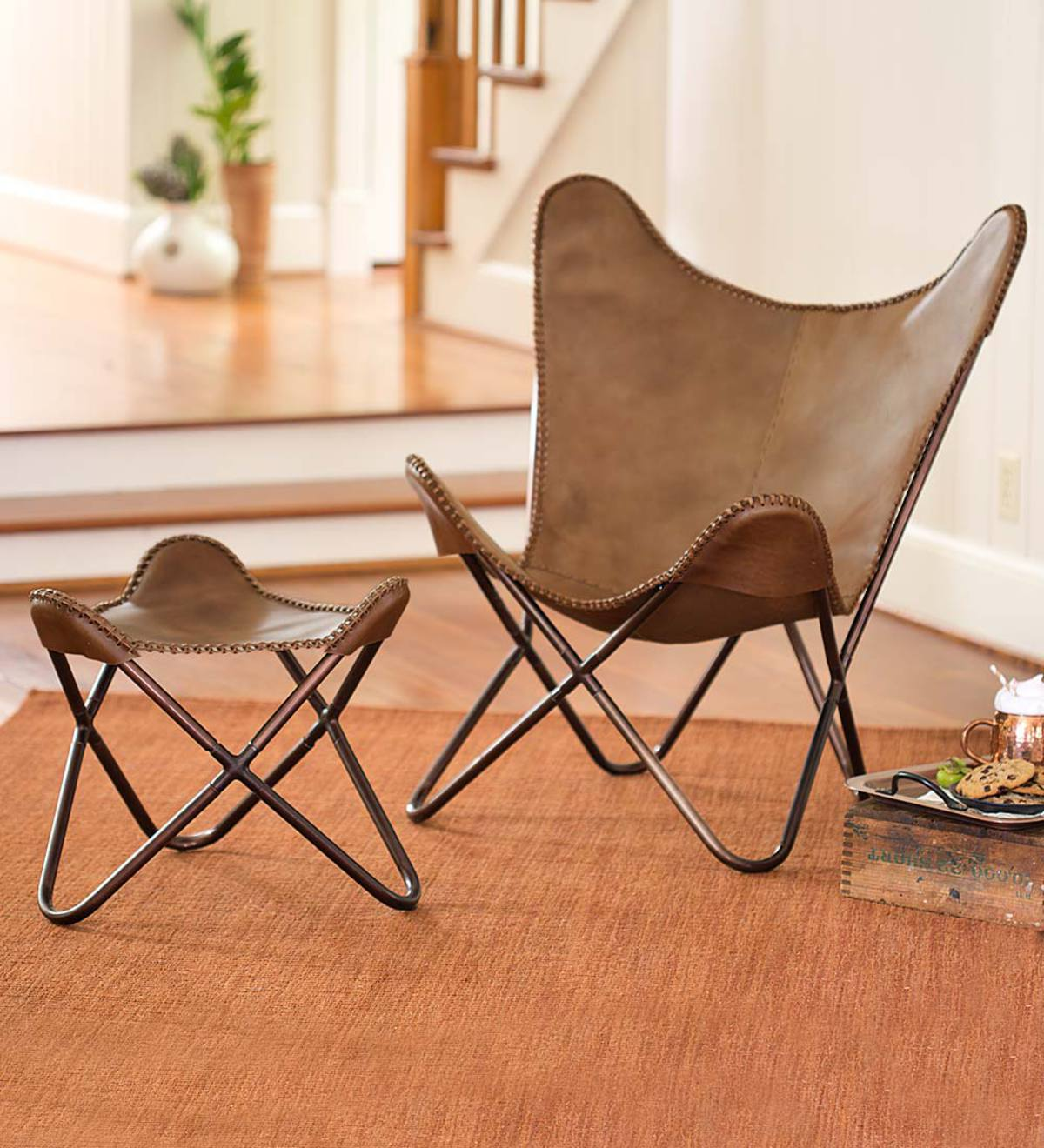 Miraculous Leather Butterfly Sling Chair And Ottoman Plowhearth Spiritservingveterans Wood Chair Design Ideas Spiritservingveteransorg