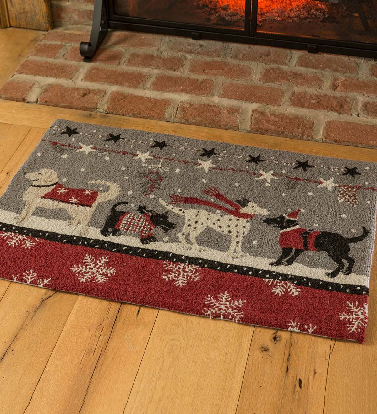 Hand Hooked Wool Christmas Doggies Snow Day Accent Rug Plowhearth