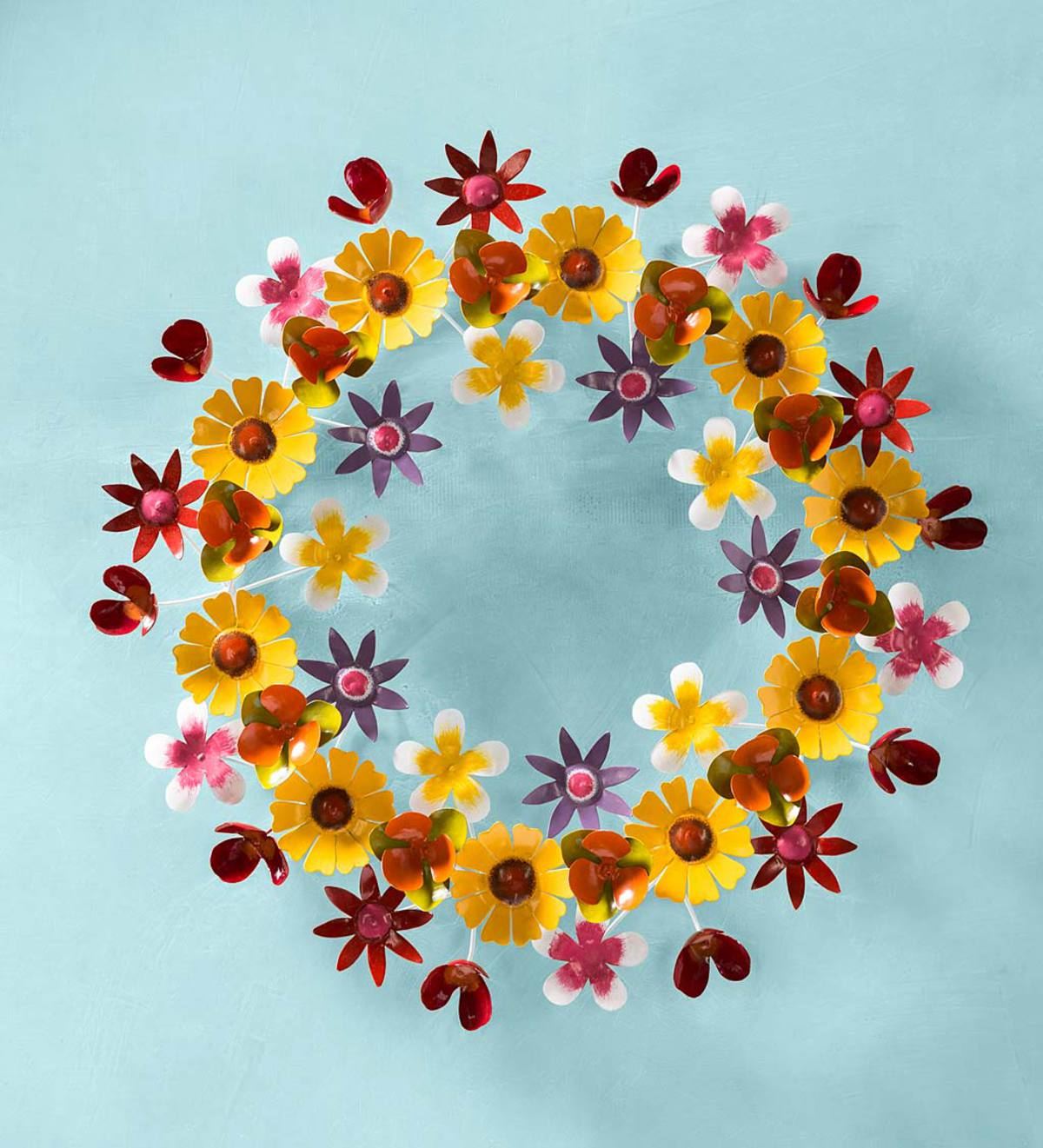 Spring Flowers Metal Wreath