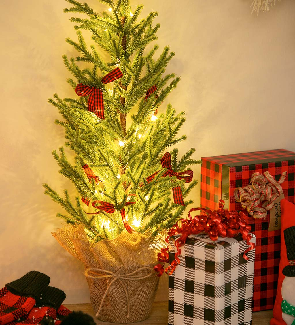 "Plaid Bows 29"" Artificial Lighted Tree in Burlap Pot"