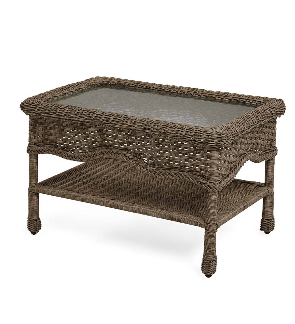 Sale! Prospect Hill Wicker Coffee Table with Glass Tabletop - Beach House Walnut