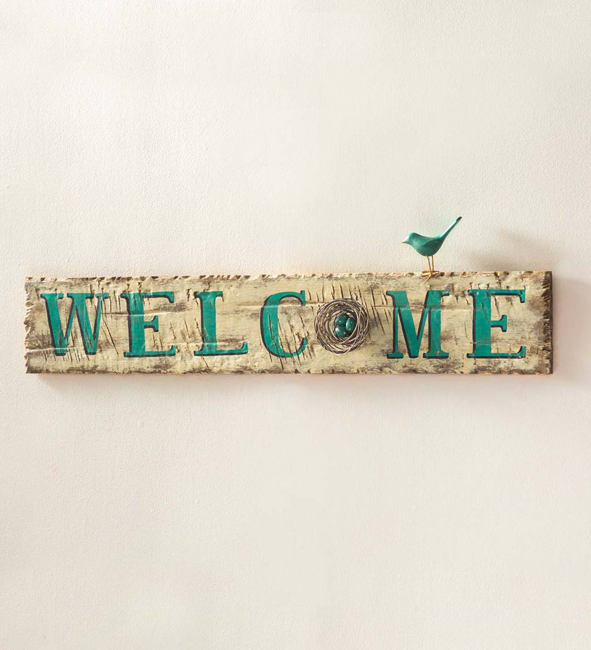 Wood Welcome Sign with Bird Accents | Wall Art | Home Accents ...