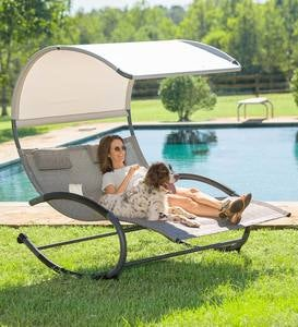 Outdoor Double Chaise Lounge Rocker with Shade Awning