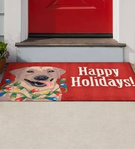 "Indoor/Outdoor Synthetic Blend Lab with Lights Happy Holidays Rug, 24"" x 36"""