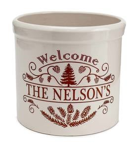 Personalized Pine Welcome Stoneware Crock