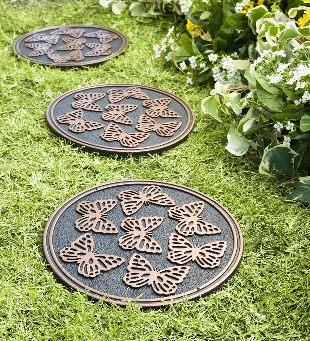Recycled Rubber Stepping Stones, Set of 3