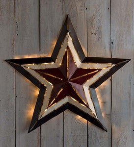 "Small Lighted Americana Metal Star, 16¾""dia."