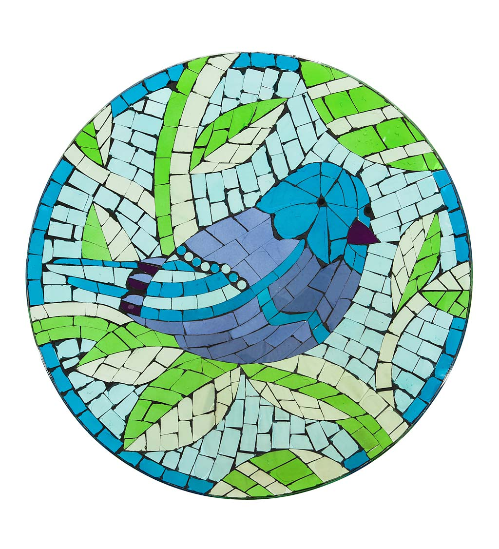 Translucent Mosaic Blue Bird Bird Bath
