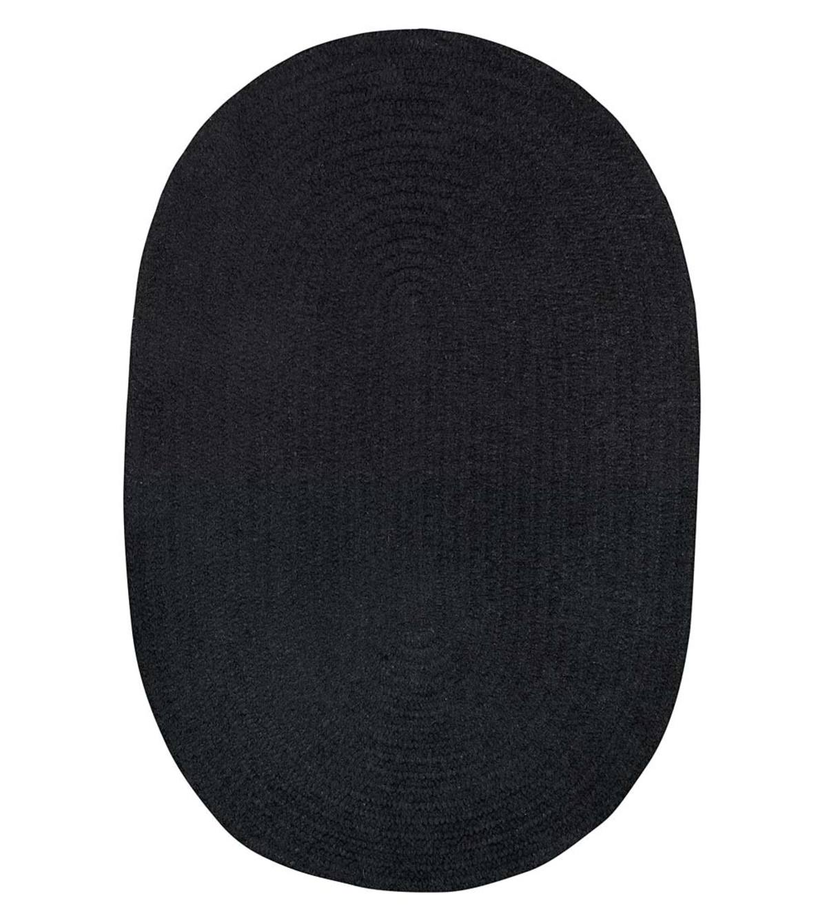 Chenille Oval Braided Area Rug, 5' x 8' - Shadow Black