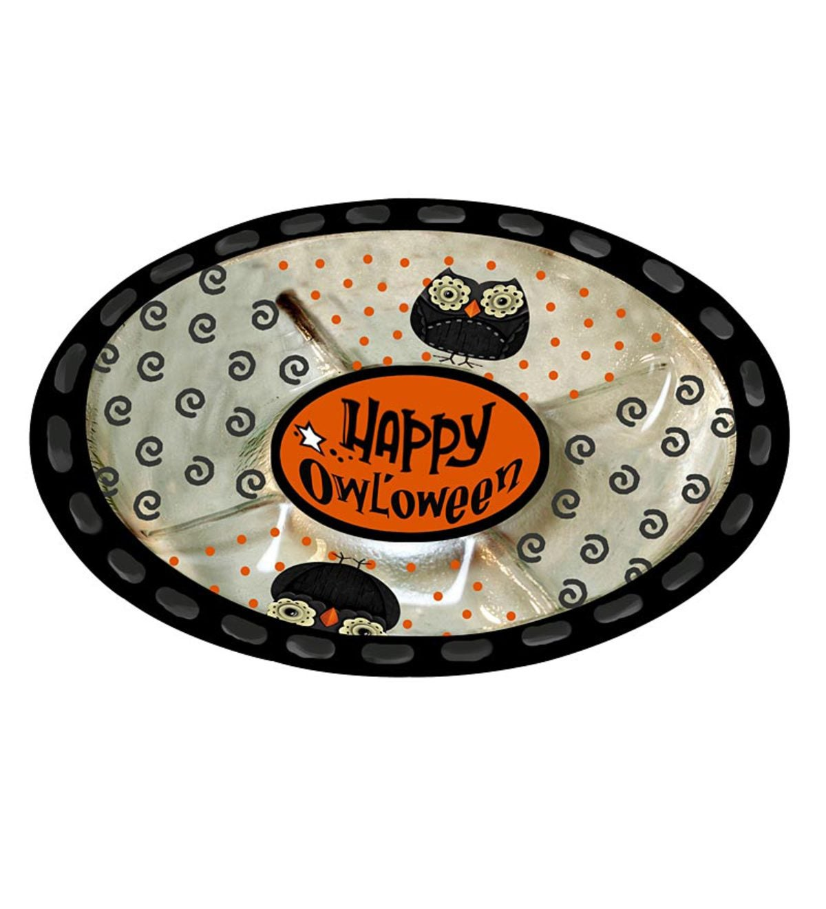 Happy Owl'oween Hand-Painted Glass 5-Section Serving Dish