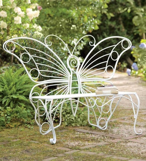 Weather Resistant White Metal Butterfly Garden Bench