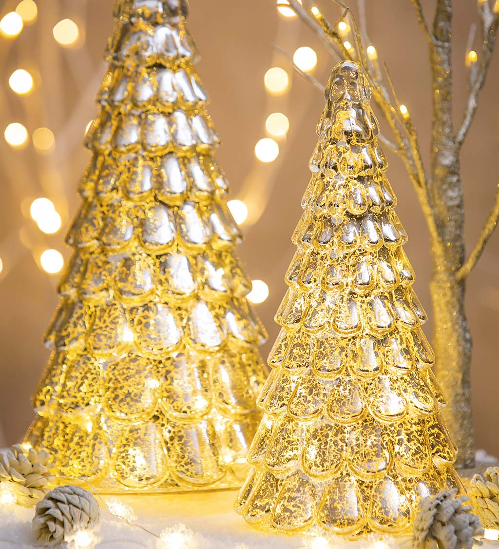 LED Patterned Gold Glass Trees, Set of 2
