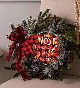 LED Most Wonderful Time Pine Cone and Berries Wreath