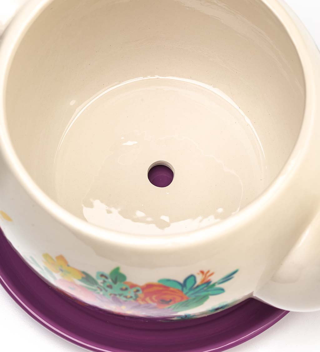Indoor/Outdoor Ceramic Floral Tea Pot Planter with Saucer