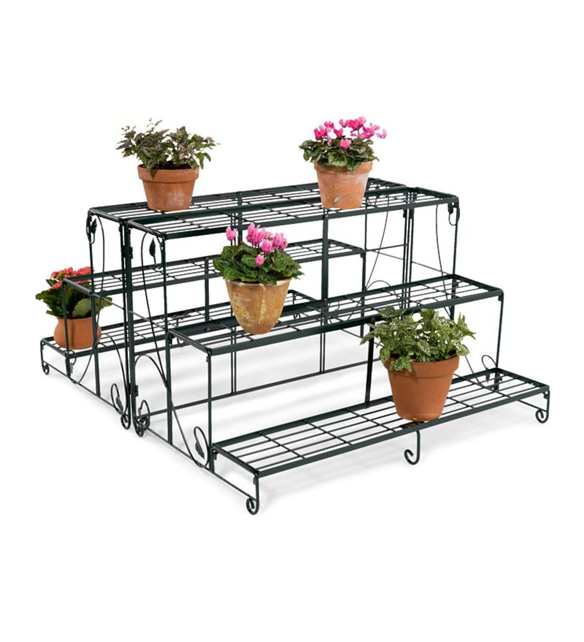 ee4e31268199 Set of 3 Corner Zinc Plant Stand Liner Trays | PlowHearth